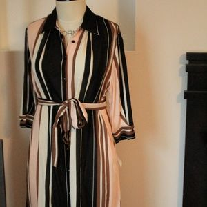 NWT Zara stripe georgette shirtdress